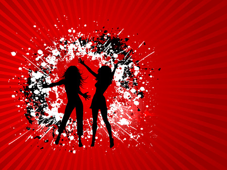 silhouettes of two females on a grunge background Vector