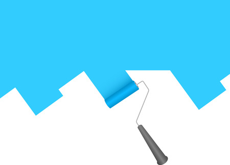 paint tool: Paint roller painting blue