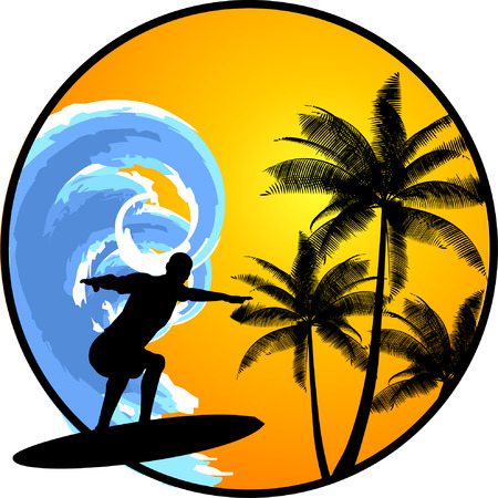 surfer silhouette: Summer background with surfer