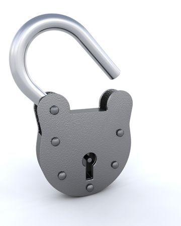 3d render of a padlock and key Stock Photo - 4557770