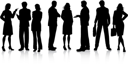 discuss: Silhouettes of business people in discussion Illustration