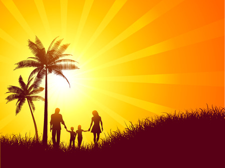 Summer landscape with silhouette of a family walking Vector
