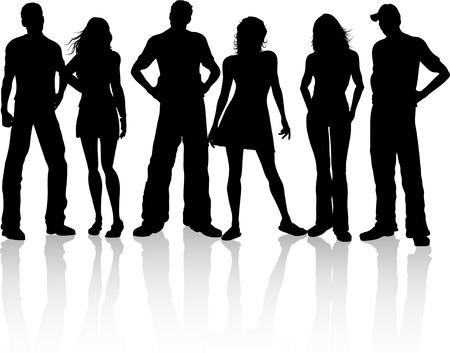 teenage couple: Silhouette of a group of friends