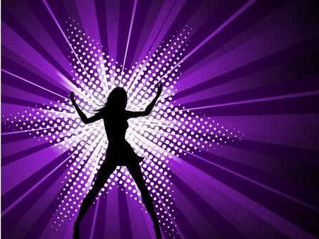 sexy woman disco: Sexy female on starburst background