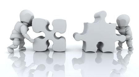 3D RENDER OF MAN SOLVING JIGSAW PUZZLE Stock Photo - 4604823