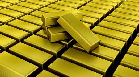 gold bullion: 3d render of gold bullion bars