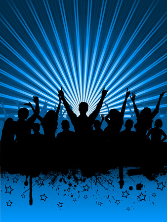 sexy woman disco: Silhouettes of an excited audience on grunge starburst Illustration