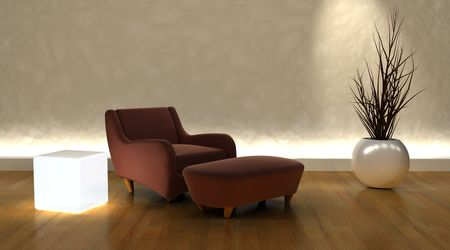 3d render of contemporary arm chair and ottoman in moderen setting Stock Photo - 4644322