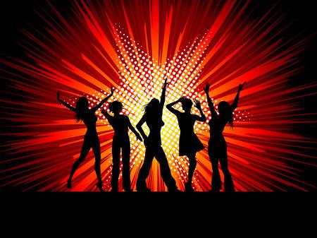 danseres silhouet: Schaduwen van sexy vrouwelijke dansers op vuur werk achtergrond Stock Illustratie
