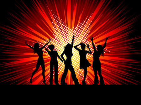 Silhouettes of sexy female dancers on starburst background Vector