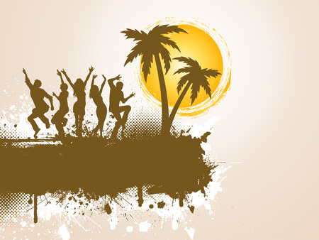 Silhouettes of people dancing on grunge palm tree background Vector