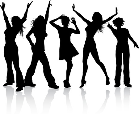Silhouettes of females dancing