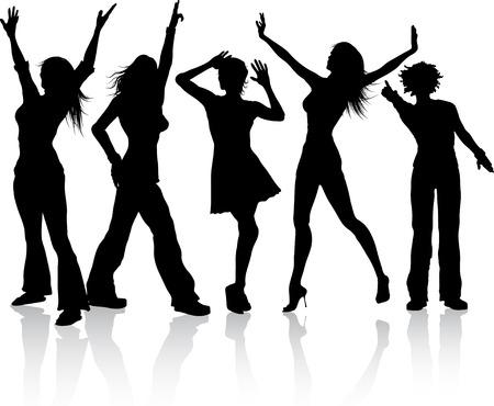 divas: Siluetas de mujeres bailando Vectores