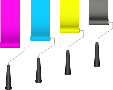paint roller: Paint rollers with CMYK colours Illustration
