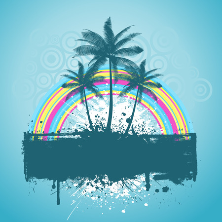 Palm trees with rainbow on grunge Vector