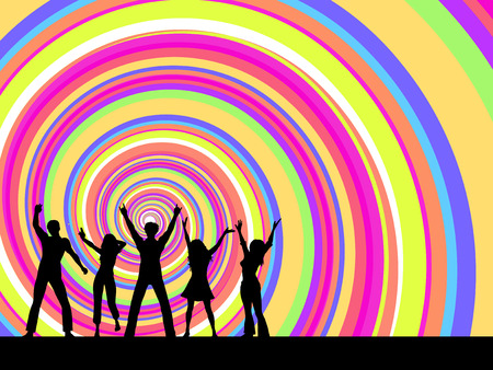 Silhouettes of people dancing on brightly coloured swirl background Stock Vector - 4687476