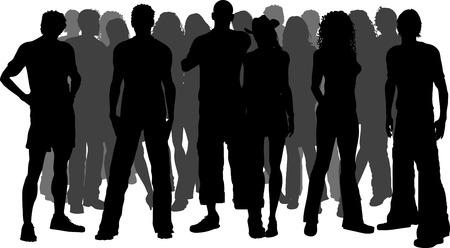 foules: La silhouette d'une foule immense de personnes Illustration