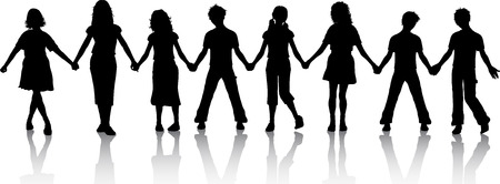 boy friend: Silhouettes of children holding hands Illustration
