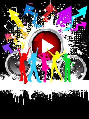 Silhouette delle donne ballare sulla musica grunge background