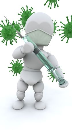 animal vein: 3d render of a man with a syringe surrounded by bacteria Stock Photo