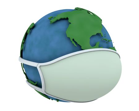 pandemic: globe in a surgical mask depicting global pandemic Stock Photo