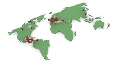 pandemic: map depicting global pandemic of H1N1 outbreak