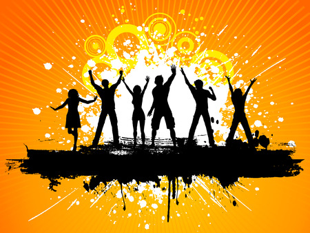 Silhouettes of people dancing on grunge background