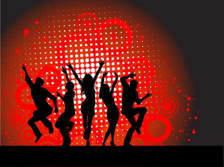 sexy woman disco: Silhouettes of people dancing