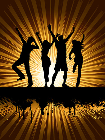 sexy young couple: Silhouettes of people dancing on grunge starburst background Illustration