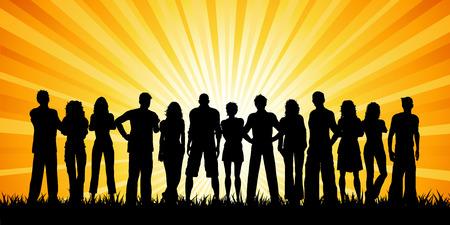 pareja de adolescentes: Enorme grupo de personas en contra de una puesta de sol del cielo Vectores