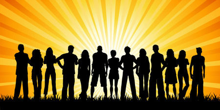 teenage guy: Huge group of people against a sunset sky Illustration