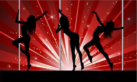 pole dancing: Silhouettes de femmes sexy pole dancing