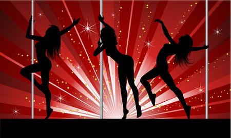 Silhouettes of sexy females pole dancing Vector