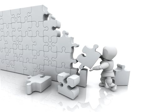 3D render of a man solving a jigsaw puzzle Stock Photo - 4902605
