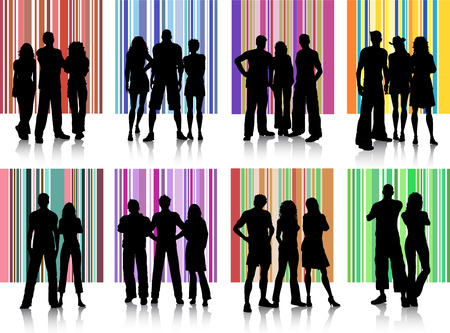 teenage couple: Silhouettes of various groups of people on retro backgrounds