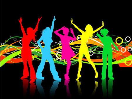 Colores De Fondo Con Las Mujeres Bailando Ilustraciones ...