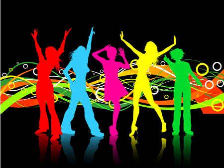 Colourful background with females dancing Illustration