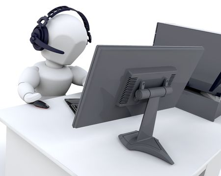 mobile voip: 3D render of a man chatting over the web