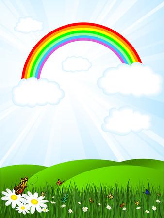 field and sky: Soleggiato paesaggio con arcobaleno cielo e le farfalle