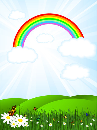 Sunny landscape with rainbow sky and butterflies Vector