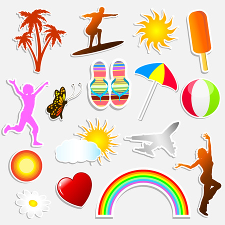 Various different summer themed stickers Vector