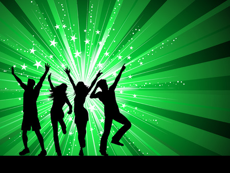 Silhouettes of people dancing on starburst background Vector