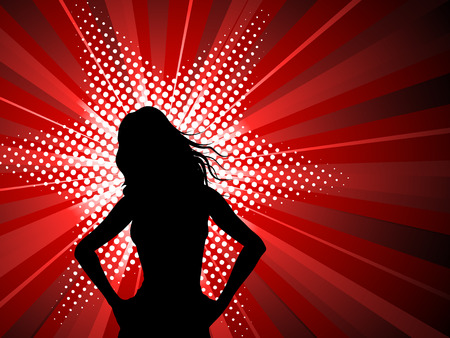 divas: Silhouette of a sexy female on a starburst background