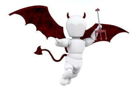 tiran: 3D render van een man verkleed als een duivel met een vork Stockfoto