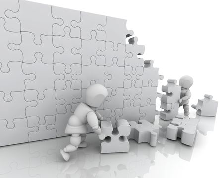 3D render of men solving a jigsaw puzzle Stock Photo - 4979408