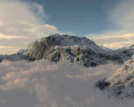peaking: 3d render of a mountain peaking through cloud layer