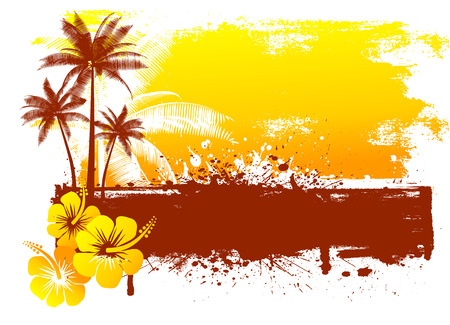 Grunge summer background with hibiscus flowers and palm trees Vector
