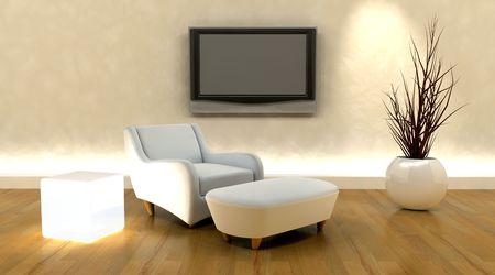 procesamiento 3D de sofá y televisión en la pared  Foto de archivo