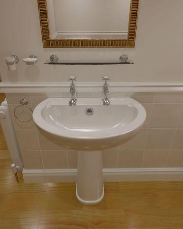 3d render of contemporary bathroom interior photo