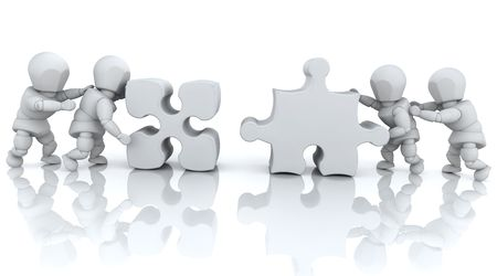 3D render of men solving jigsaw puzzles Stock Photo - 5018633